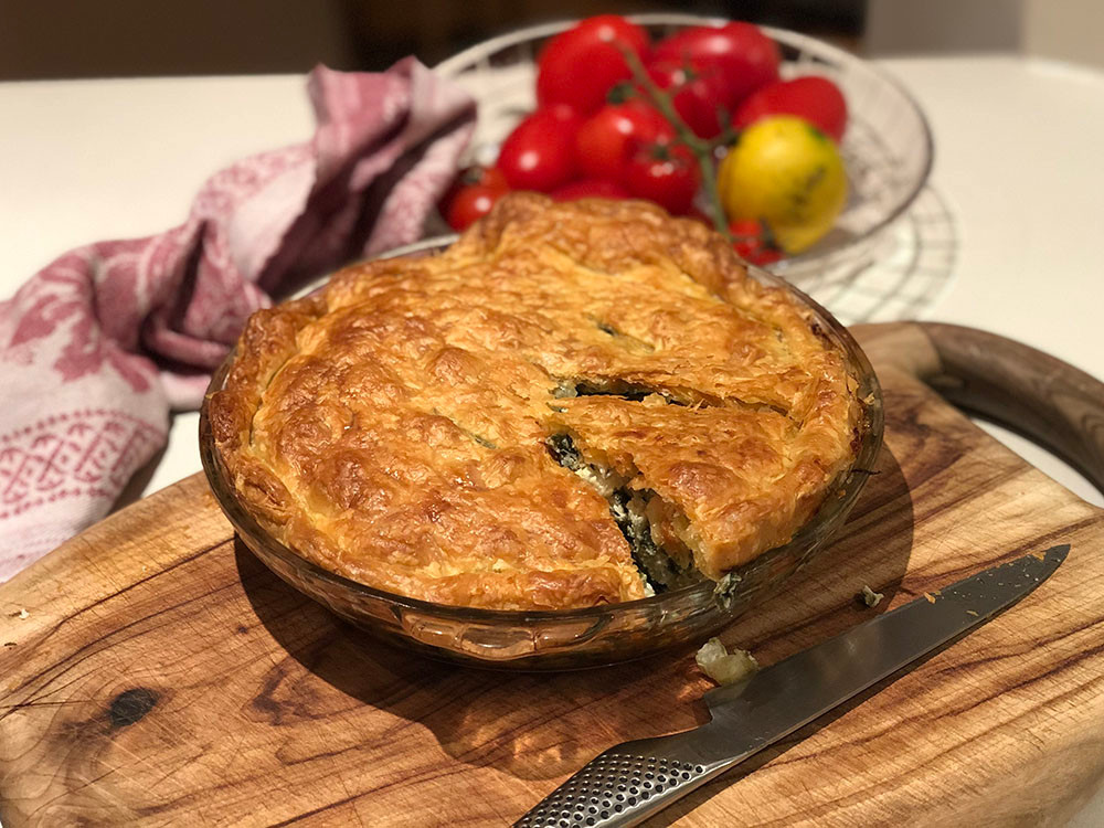 Spinach, fennel and feta pie