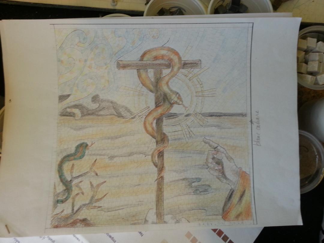 Collaboration avec Emilie Baudrais.    Création de mosaïques de pavement pour l'Eglise Nostra Signora delle Grazie àSestu, Sardaigne - Italie    Juillet - Aout 2015