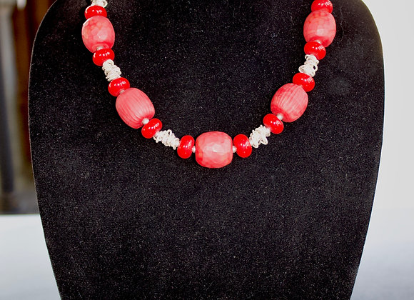Battuto Necklace in Red and Sterling Silver