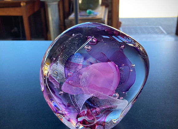 Large Sculpted Paperweight in Purples