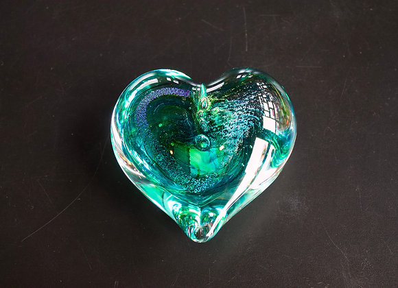 Heart Paperweight in Greens