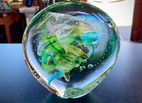 Large Sculpted Paperweight in Warm Greens