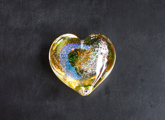 Heart Paperweight in Gold and Green