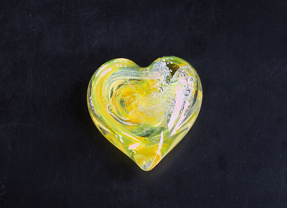 Heart Paperweight in Vivid Yellow