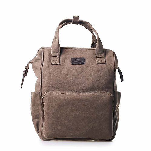 O My Bag Billie's Backpack Olive Dark Brown Canvas