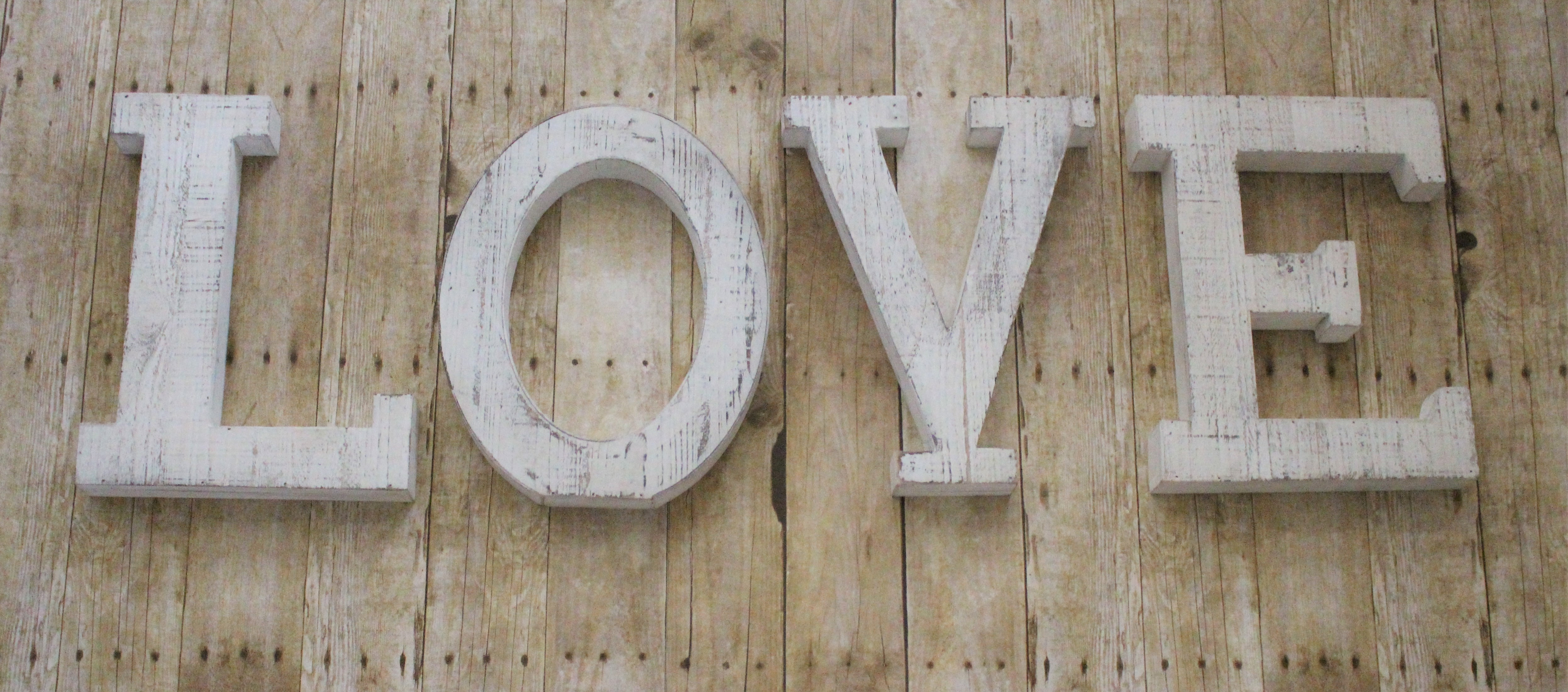 """Whitewashed Wood LOVE Letters 14""""X11"""