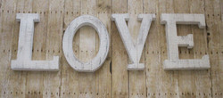 "Whitewashed Wood LOVE Letters 14""X11"