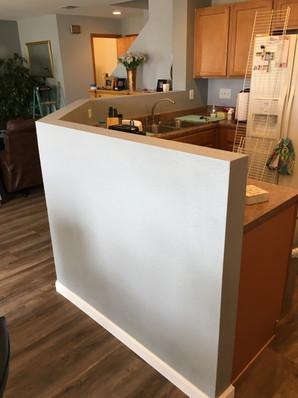 Interior kitchen halfwall after
