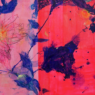 Triptych of Hot Pink Detail-3