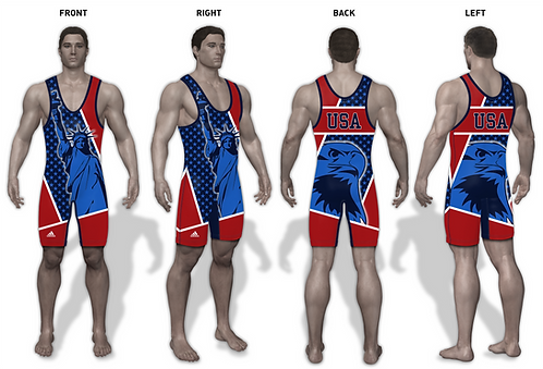 Time To Wrestle - American USA Wrestling Singlet