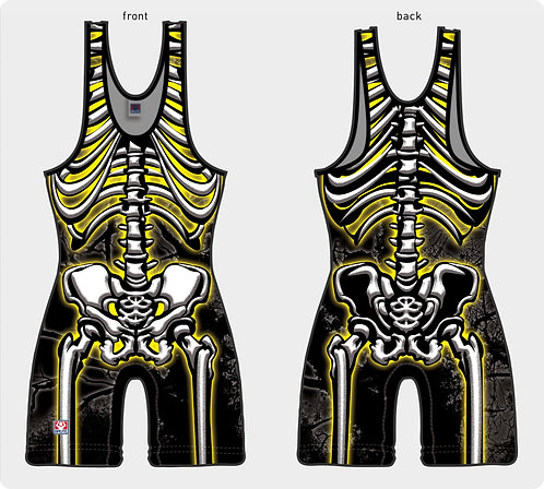 Time To Wrestle - Skeleton Singlet