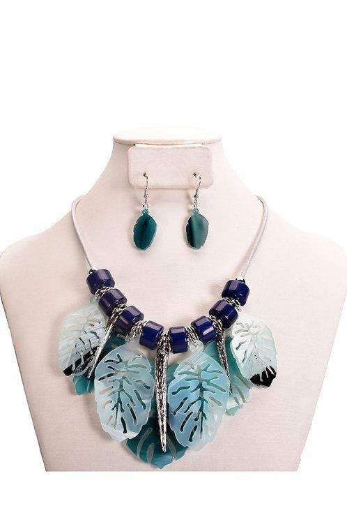 Shades of Blue Acrylic Leaf Boho Chic 133