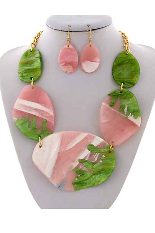 Bold Pink & Green Stones 142