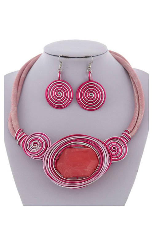 Pink Large Stone Statement Necklace 119