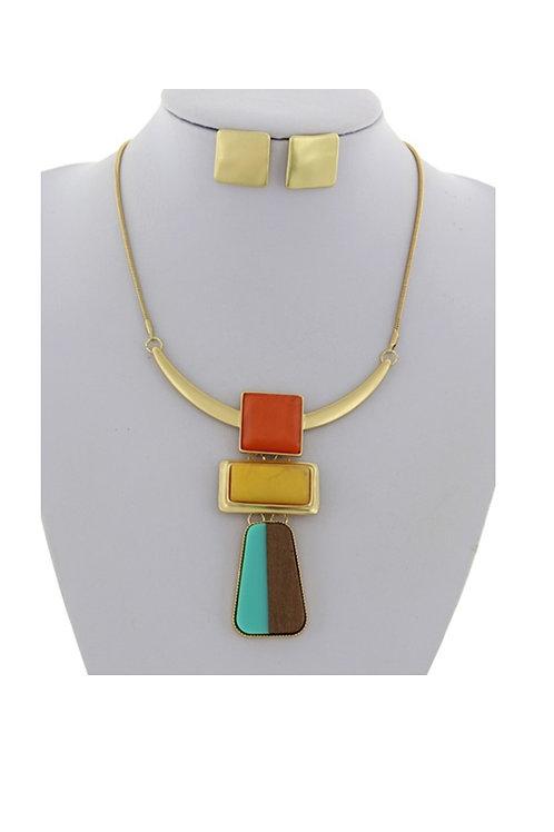 Matte Gold & Multi-Necklace & Earrings 110