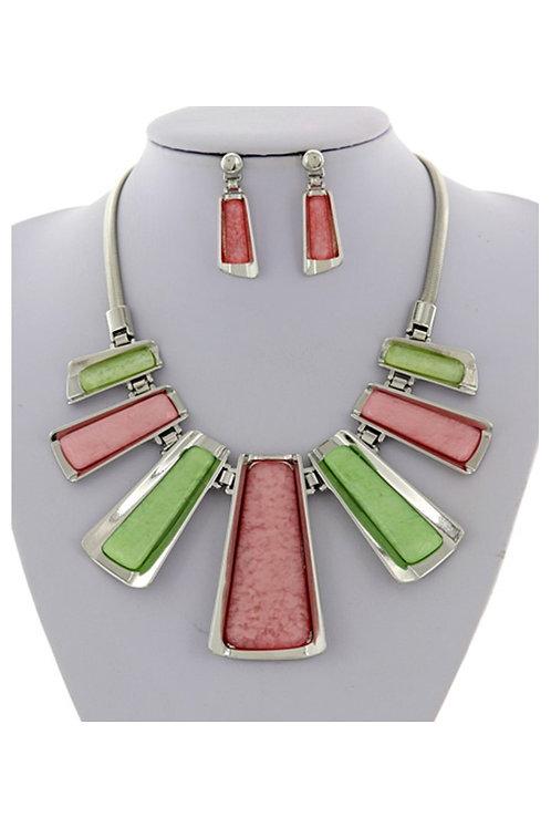 Pink & Green Statement Necklace 113