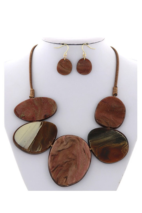 Brown & Bronze Acrylic Necklace & Earrings 121