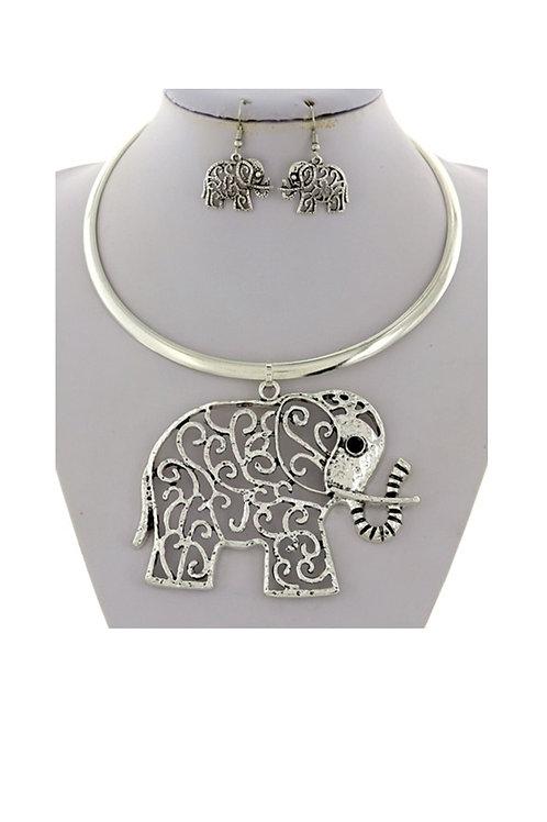Large Elephant & Earring Necklace- 102