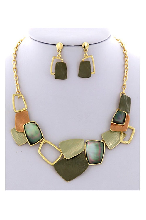 Gold Multi-Colors Necklace & Earrings 115