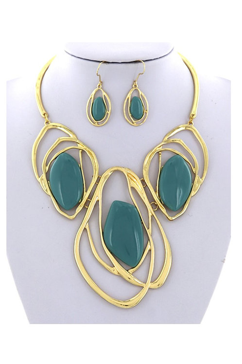 Gold & Teal Stones 145