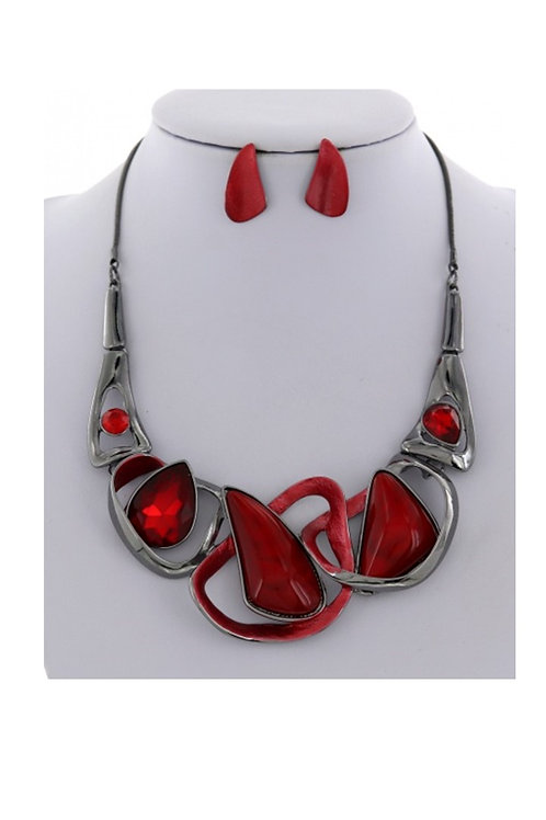 Acrylic Red and Silver Necklace 104