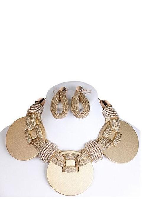 Large Metal Disc Fashion Necklace Set 135