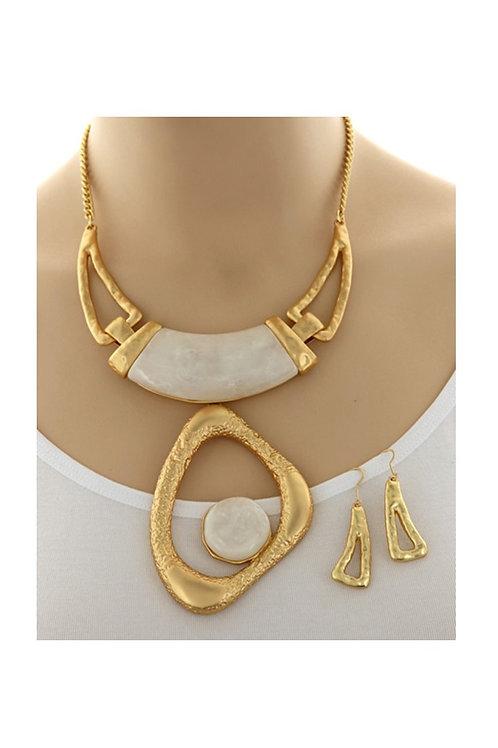 Matte Gold & White Stone 108