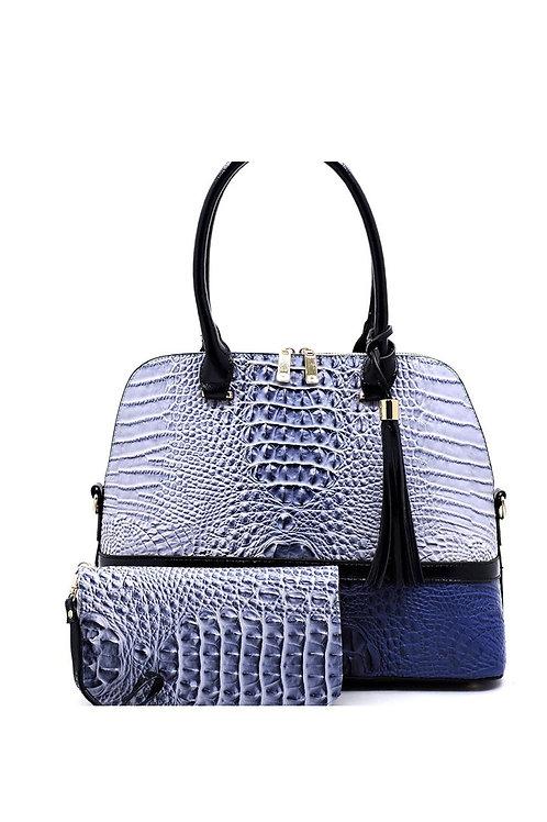 Blue 2-Tone Croc Print Handbag 122