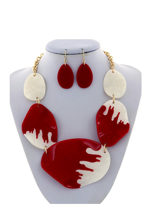 Red & White Graduating Necklace & Earrings 120
