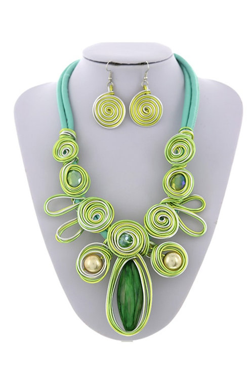 Lime Statement Necklace & Earrings 116