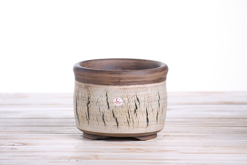 Hand made crackle pot No.20 15 x 11cm