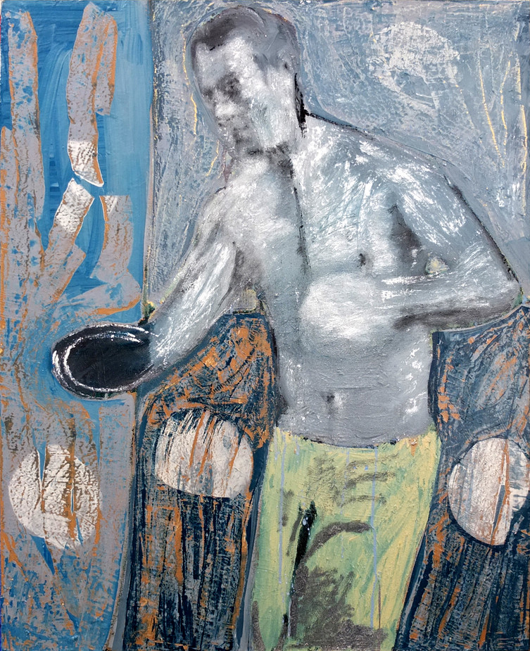 Boxeur, 2018, Oil and silicone on canvas, 65 x 81cm.
