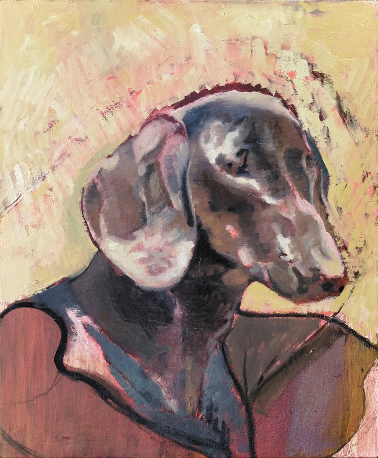 Dogg, 2018, Oil on Canvas, 54 x 65 cm. Private collection, Cologne.