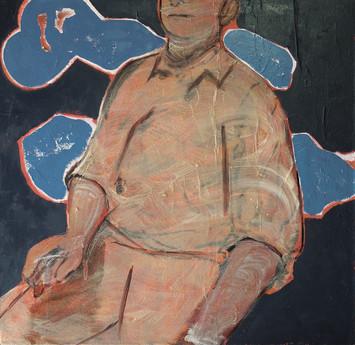 Silhouette-No.1, 2018, Oil, paper, glue on canvas, 80 x 80cm.