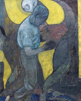 Sans-titre No.11, 2018, Oil, glue and pigment on canvas, 81 x 100cm. Private collection, Spain.