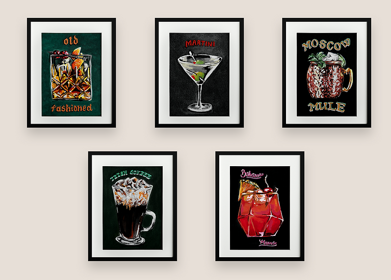 5-Pack Cocktail Gouache Painting Collection