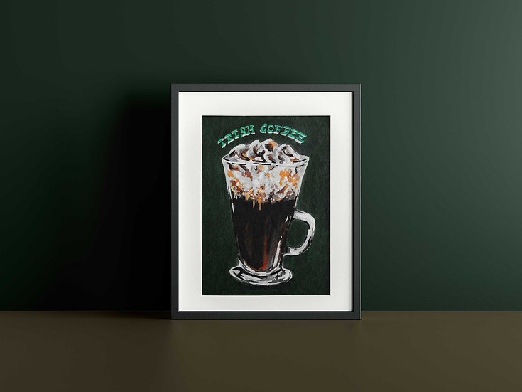 Irish Coffee Cocktail Gouache Painting