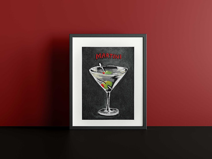 Martini Cocktail Gouache Painting