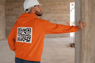 Construction worker QR code clothing