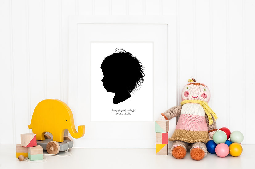 Child Bust Silhouette Portrait