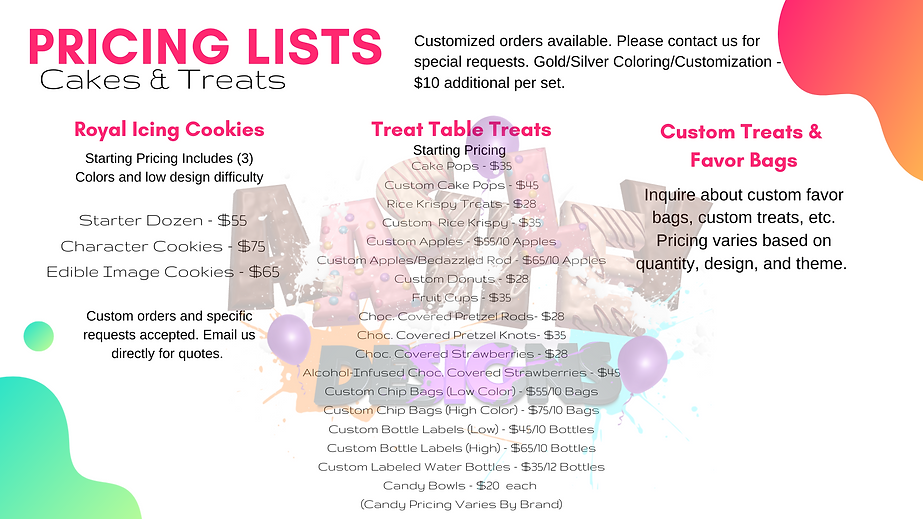 Cookie/Treat Pricing