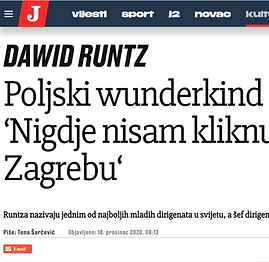 A scrennshot of the title of the article from a Croatian magazine regarding his tenure as a Chief Conductor with Zagreb Philharmonic