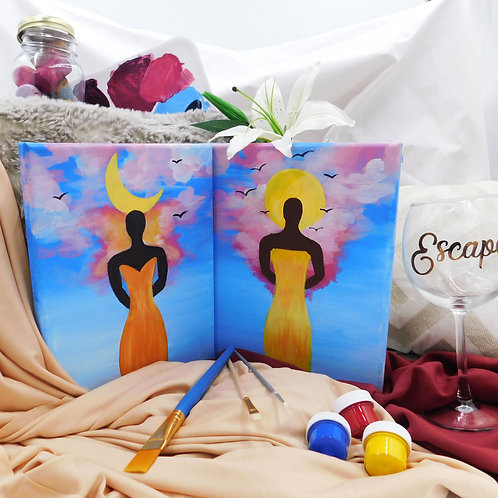 SIP . PAINT . ESCAPE BOX for 2 with Virtual Class