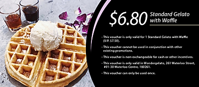 $6.80 standard gelato with waffle from W