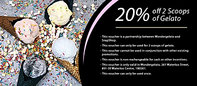 20% off 2 scoops of gelato from Wonderge