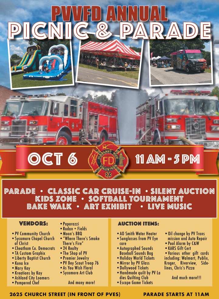 PVVFD Gears Up for Oct. 6 Picnic & Parade
