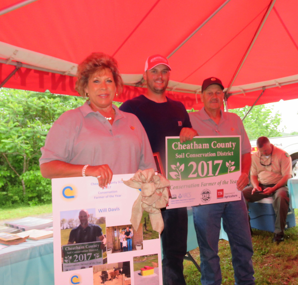 Janice Weiss, District Secretary; Will Davis-Conservation Farmer of Year; and Phil Dawson, SCD Vice-Chairman