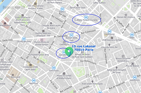 plan lakanal metro Geneviève Koehler, 15 rue Lakanal, 75015 Paris, hypnose, Sophrologie, acouphenes