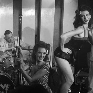On stage with The Satin Dollz