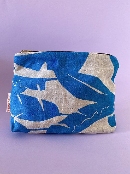 Natural & Blue Linen Pouch